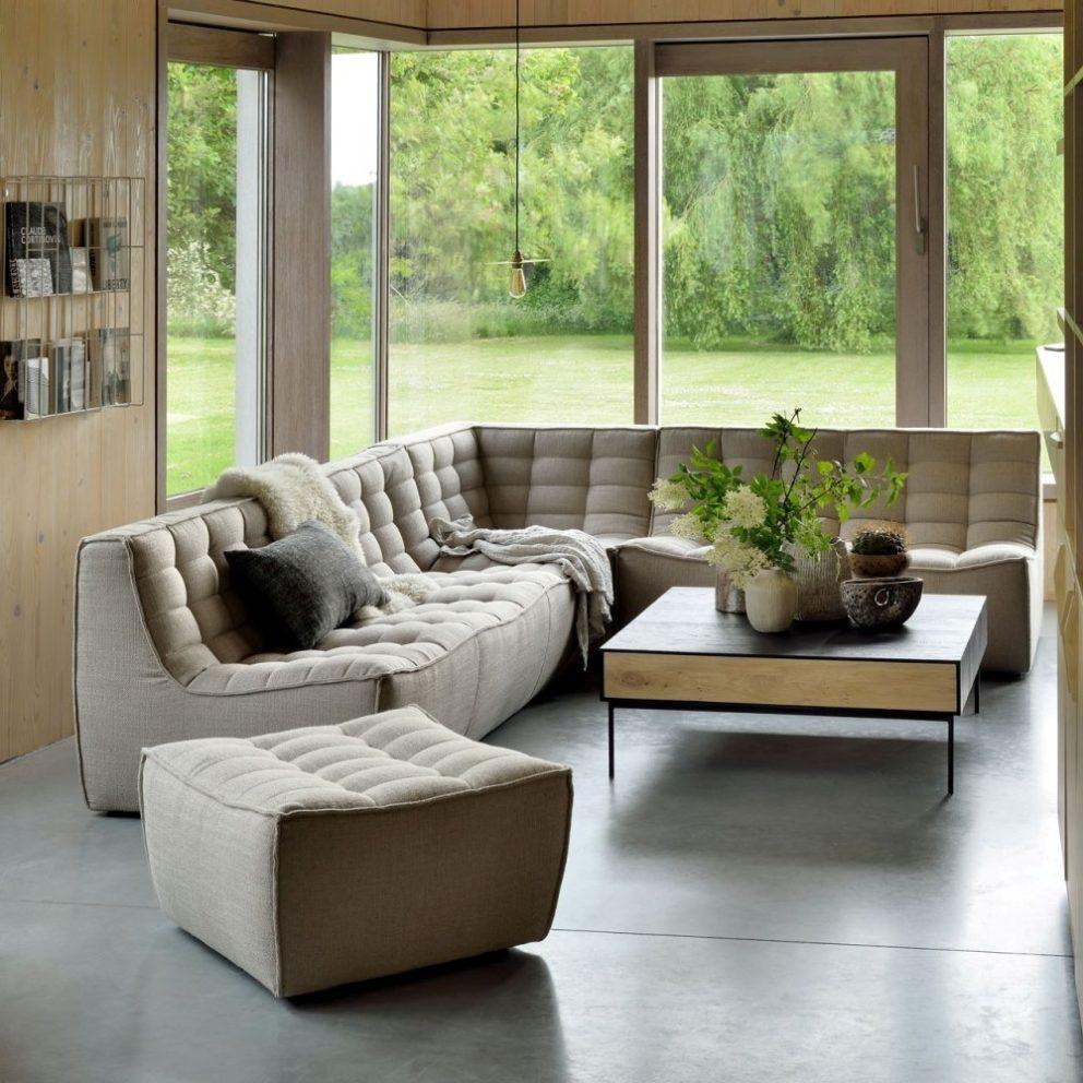 Ethnicraft N701 sofa 3 seater corner 2 seater footstool beige Blackbird coffee table 01