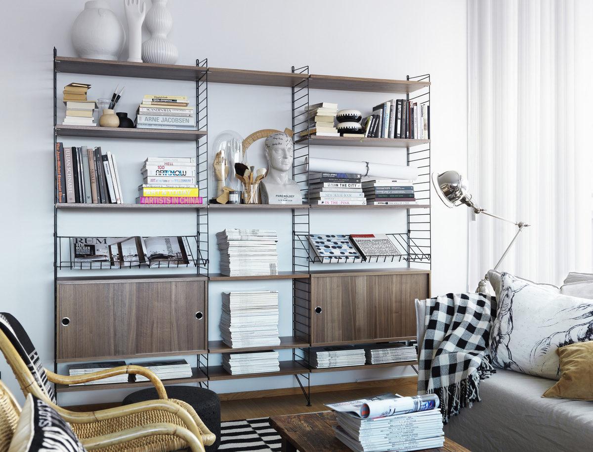 String system living room walnut black landscape large