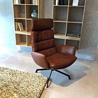 KFF - Stoel Arva Lounge met arm leder Sauvage 8104 teak