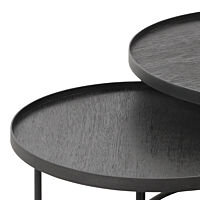 Ethnicraft - Round tray coffee table set - s/l