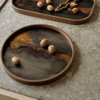 Ethnicraft - Glazen dienblad - Bronze Organic - 30 x 30 x 3 cm