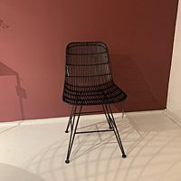HK RAT0011 rotan dining chair black.