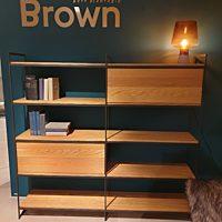 Bert Plantagie Brown - Etagere Bora incl. inzetblokken 175x34x164 cm legplanken eiken noest fineer/frame Kohl 100